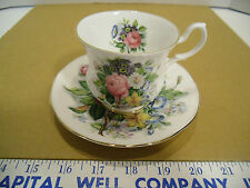 Royal Victorian Fine Bone China Flowered Footed Tea Cup and Saucer Set - EUC