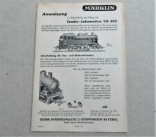 Märklin TM 800 Anleitung NACHBAU alt Blech 800