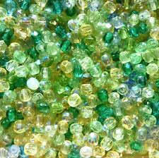 50 Perles à Facettes de boheme 4mm MULTICOLORE TONS VERT