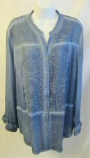 NEW CHICO'S Blue Pigmented Lace Button Front V-Neck Shirt/Jacket NWT $99 LOVELY!