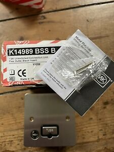 MK K14989 BSSB EDGE 13A unswitched fused connection unit & flex outlet brushed