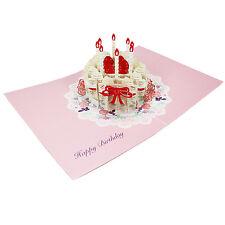 Happy Birthday Laser Cut Cake Pop Up Greeting Card