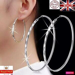New Genuine Solid 925 Sterling Silver 30mm-60mm Big Hoop Sleeper Earring Pair UK