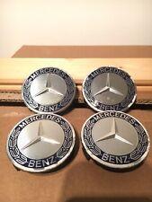 4x Original Mercedes Radnabendeckel Blau Silber Gebraucht A1714000125