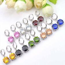 8 pcs 1 Lot Round Rainbow Topaz Peridot Morganite Gems Silver Danlge Earrings