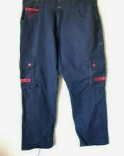 VINTAGE EIGHT 732 MEN'S BLUE CARGO RED TRIM EMBROIDERED DENIM PANTS JEANS 42X34