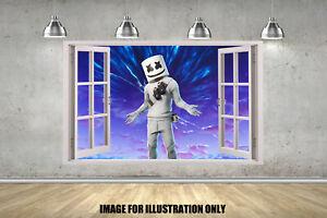 Marshmello 3D Window Gamer Floss Childrens Wall Sticker Fort Gaming Decal EDM