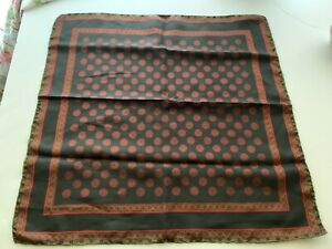 Vintage Silk Pocket Square Made in Italy Hand Rolled Hem 18 x 18 Black Red Green