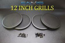 (4) 12 INCH STEEL SPEAKER SUB SUBWOOFER GRILL FINE MESH W/ CLIPS SCREWS GT-12