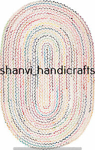 Handmade Braided Oval Rug Multi Colour Chindi Cotton 2x3 Feet Bohemian Rags Rugs