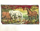 Equestrian Horse Plush Velvet Tapestry Wall Hanging Table Topper Vintage Belgium