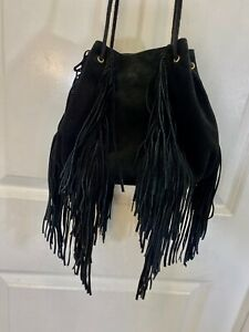 Ecote Urban Outfitters Black Fringe Drawstring Leather Suede Bag Purse Festival