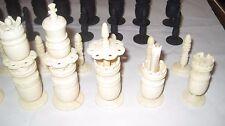 Superb Vintage Carved Bovine Bone White & Black Colored Chess Set (no board)