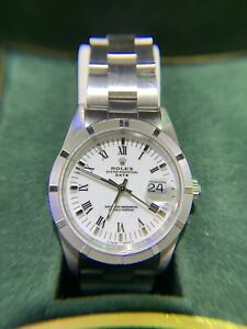 Rolex ♛ Oyster Perpetual Datejust Stainless Steel Watch w/ Black Roman Numerals