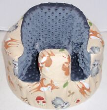 New Bumbo Floor Seat Cover • Forest Friends w/Grey Minky • Safety Strap Ready