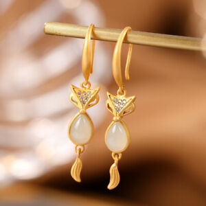 China Hetian White Jade Exquisite Fox Earrings Ear Stud &Pure Silver S925 Gild