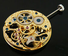 17 Jewels mechanical Analog gold Full Skeleton Hand Winding 6497 movement