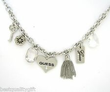 NEW GUESS SILVER TONE KEY+FLOWER+CRYSTAL GEM+HEART+TASSEL MULTI-CHARM NECKLACE