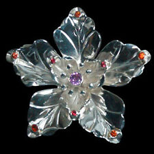 HAND MADE FLOWER  CEYLON SPINEL SONGEA SAPPHIRES IN SOLID STERLING SILVER