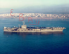 1970'S 11X14 COLOR PHOTO OF THE U.S.S. NIMITZ CVN-68 IN ATHENS GREECE ACTION