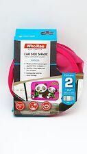 2 Car Baby Window Twist Shades Pink Panda Print 17x14 inch UV Heat Block Protect