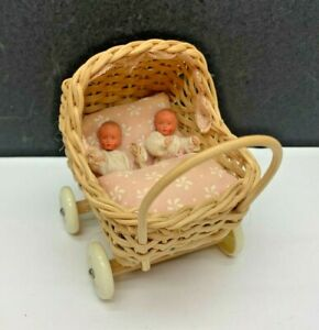 Vintage Shackman Twins in Wicker Stroller Doll Accessory-Tagged