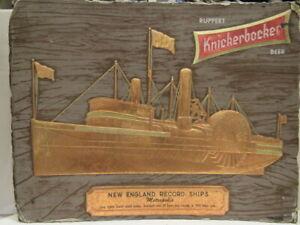 1950S RUPPERT KNICKERBOCKER  BEER SIGN NEW ENGLAND RECORD SHIP METROPOLIS