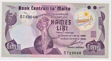 Notas/ Malta/ 5 Liri/ 1967/ P.35-b/ Banco Central de Malta/ UNC