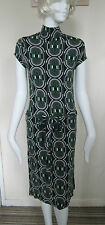 ATMOSPHERE- GREEN GOMETRIC UNLINED C/SLEEVED DRESS SIZE 8 - VISCOSE BLEND