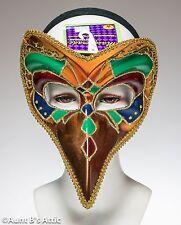 Mardi Gras Mask Court Jester Gold Green & Purple Plastic Headband Style Mask