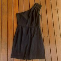 Review Size 12 Black Cocktail Party Dress One Shoulder Lined
