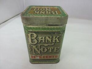 VINTAGE ADVERTISING EMPTY BANK NOTE CIGAR TOBACCO TIN   M-500