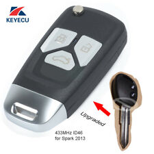 Upgraded Flip Replacement Remote Key Fob 433MHz ID46 for Chevrolet Spark 2013