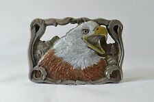 Vintage C&J 1579 Belt Buckle American Bald Eagle Vine Border Solid Pewter 1992