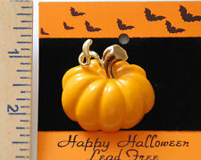 / Fall Brooch / Nip Orange Pumpkin Pin w Gold-tone Accents