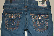 NWT TRUE RELIGION STRAIGHT LEG FLAP POCKET BROWN FLOWER STRETCH JEANS SIZE 26