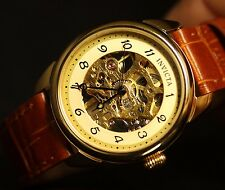 Invicta Womens Vintage Mechanical Skeleton Gold Tone Dial Brown Leather Watch