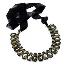 Necklace Fabric Band Rhinestone Chain Champagne