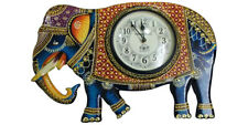Vintage Wall Clock Wooden Elephant Hand Painted Wall Hanging Home Decor Clock