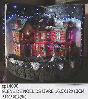 Libro natale paesaggio con scena natalizia in resina con musica e luci