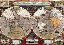 Antique World Map, Old Vintage Map, 1595, Fade Resistant HD Art Print or Canvas
