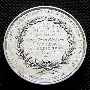 *Rare* Large 1881 ARAB STALLION Scottish Sterling Silver Arabian Horse Medal