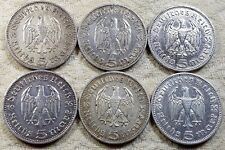 UNIQUE 6 x Full Mint Set 5 ReichsMark Hinderburgh 1935 Nazi Silver Coins Lot 1