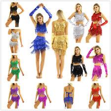 Women Rumba Latin Dance Dress Sequin Tassels Belly Tango Ballroom Salsa Costume