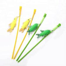 Cat Kitten Teaser Wand Toy Plush Fish, Green and Yellow (CT164)