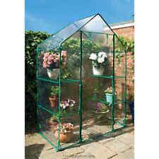 Walk In Greenhouse PVC Plastic Garden Grow Green House with 4 Shelves UK