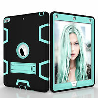 For New iPad 9.7 2017 Hard Hybrid PC+TPU Silicone Stand Shockproof Plastic Case
