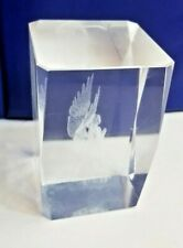 Angel Laser Etched Crystal Glass Acrylic Lucite Paperweight Cube Decor religious