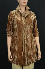 Silhouettes Woman Amber Crinkled Velvet Button up Sheer Duster Coat Size 20W