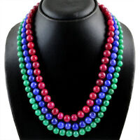 816.95 CTS EARTH MINED 3 LINE RUBY, EMERALD & SAPPHIRE ROUND BEADS NECKLACE